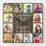A Grandchild's Laugh Quote 12 Photo Wood Effect Square Wall Clock