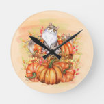 Gray White Cat Rustic Wood Box Orange Pumpkins Round Clock