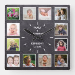 Personalized 12 Photo Collage Chalkboard  Family Square Wall Clock
