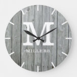 Rustic Gray Wood Farmhouse Monogram Name Large Clock