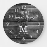 Rustic Wood Home Sweet Home Family Name  Monogram  Large Clock