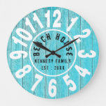 Turquoise Wood Beach House Black  Big Numbers Large Clock