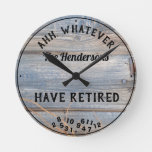 Ahh Whatever Couple Have Retired Rustic Board Round Clock