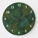 Rustic Green Tapestry With Fall Leaves Large Clock