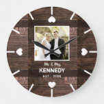 Rustic Wood Personalized Wedding Anniversary Photo Large Clock