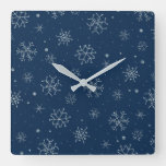 Vintage Christmas Blue Snowflake Design Decor Square Wall Clock