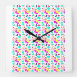 Loveyouart Floral Pattern Square Wall Clock
