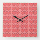 Loveyouart Heart Pattern Square Wall Clock