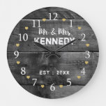 Mr And Mrs Wedding Anniversary Rustic Wood Large Clock