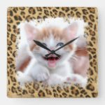 Rustic Brown and Beige Burlap Leopard Grunge Photo Square Wall Clock