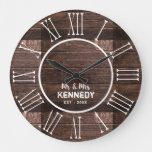 Rustic Wood Wedding Anniversary Roman Numeral Large Clock