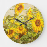 Sunflower Field Vintage Antique Yellow Art Large Clock