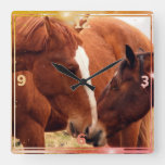Wild Mare & foal Together Square Wall Clock