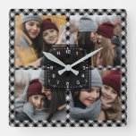 Black Buffalo Plaid Lumberjack Photo Collage Square Wall Clock