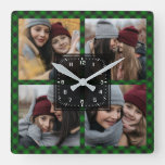 Green Buffalo Plaid Lumberjack Photo Collage Square Wall Clock