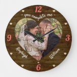 Heart Puzzle Wedding Photo Rustic You Complete Me Large Clock