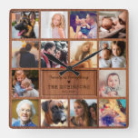 Create Your Own Rustic Photo Collage Square Wall Clock
