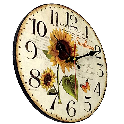10 Inch Sunflower Kitchen Wall Clock Rustic Farmhouse Clocks, Thick Wood Home Decor Clock for Bedroom, Office, Dinning Room, Silent Battery Operated (White)