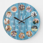 Rustic Farmhouse Family Photo Collage Monogram Large Clock