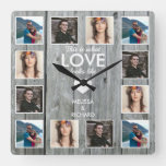 Rustic Gray Wood 12 Photo Collage Anniversary Love Square Wall Clock