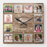 Rustic Wood 12 Photo Collage Family Love Quote Square Wall Clock