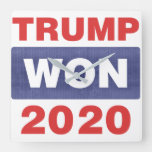 Trump Won 2020 Red White and Blue Square Wall Clock
