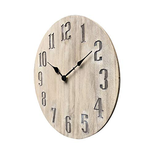 NIKKY HOME 14″ No-Ticking Rustic Wooden Round Wall Clock Silent Noiseless – Burlywood