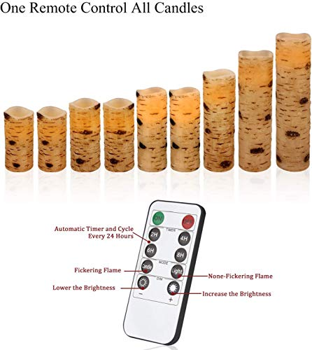 Flameless Flickering Candles with Birch Bark Effect LED Candles 4″/5″/6″/7″/8″/9″ Set of 9 Battery Candles Real Wax Pillar with 10-key Remote Control – 2/4/6/8 Hours Timer