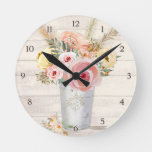 Rustic Wood Pink Roses Floral Bouquet Pampas Grass Round Clock