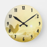 Wall Clock Sunny Morning Farm Country Rustic Sunri
