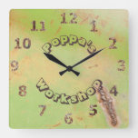 Custom Name Rustic Garage Workshop Green Patina Square Wall Clock