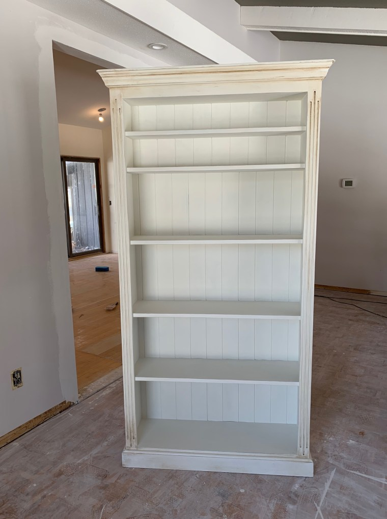 Finished bookcase with chalk paint and wax