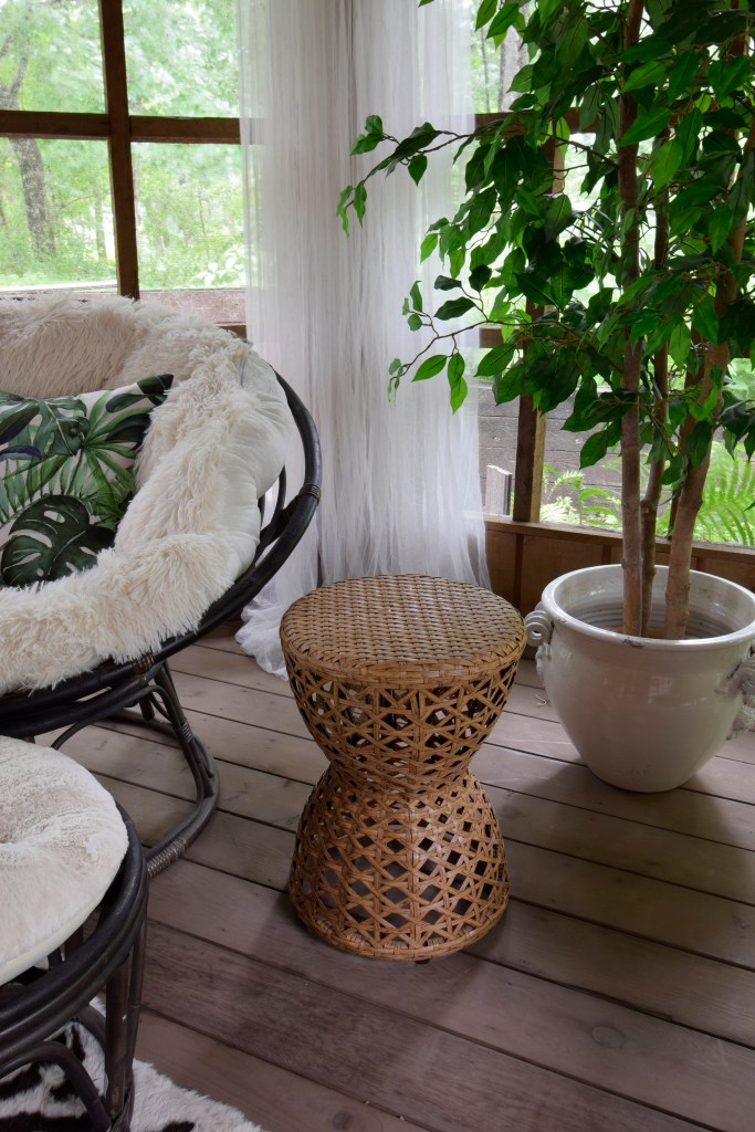 Vintage wicker garden stool