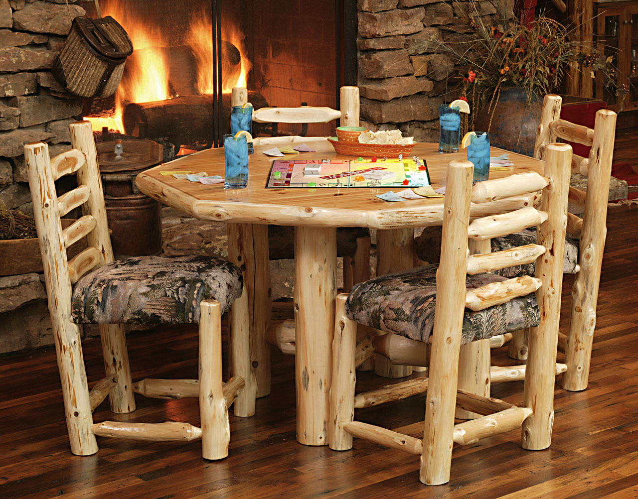 Log Table And Chairs Diningroom Rustic Furniture Mall By Timber Creek