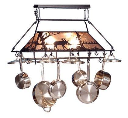 meyda moose at lake lighted pot rack
