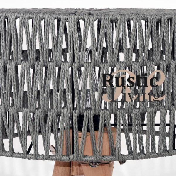 Tafellamp stripe mangohout grijs katoen