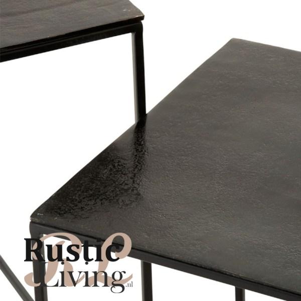 Set 2 Bijzettafels Vierkant Oxidize Aluminium Ijzer Antiek Zwart Groen