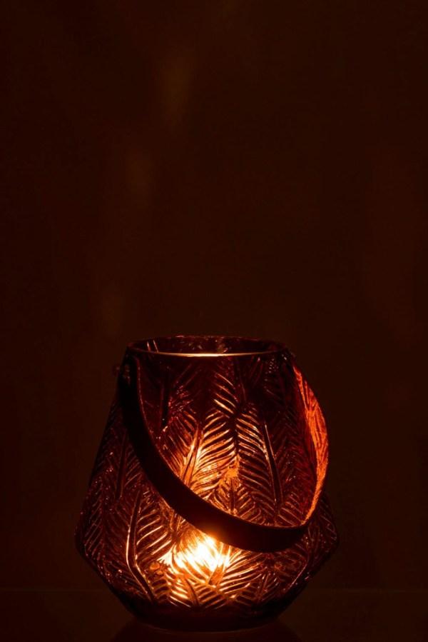 Windlicht+Handvat Blad Glas Bruin Small