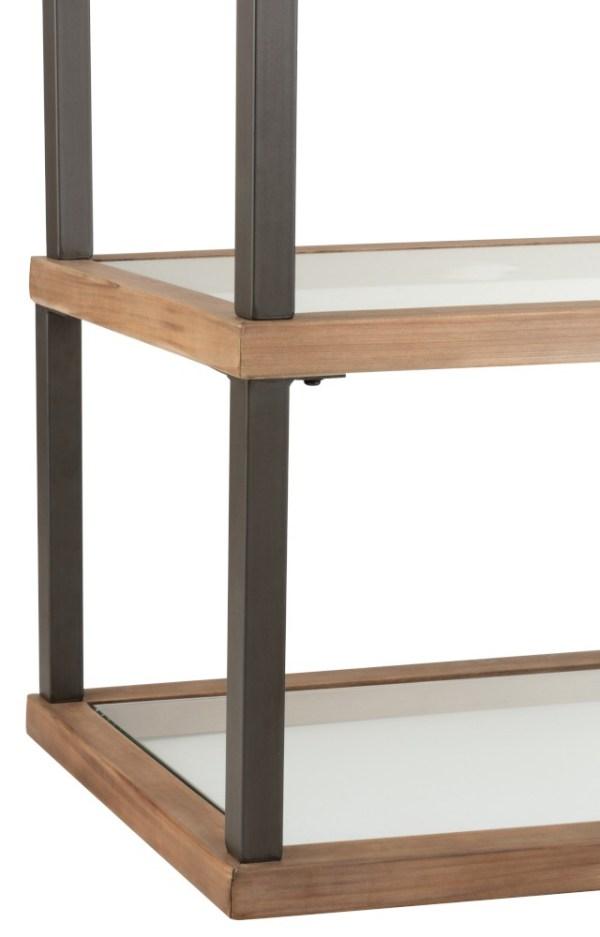 console 3 legplanken glas hout metaal