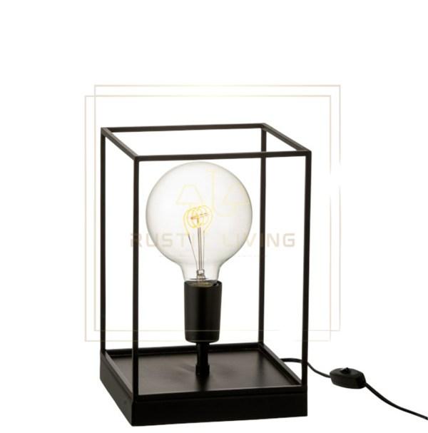Tafellamp rechthoekig frame e27 metaal zwart