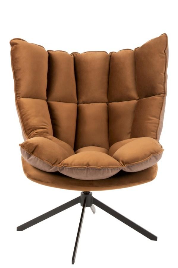 loungestoel relax textiel bruin metaal zwart
