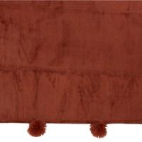 Plaid Pompom Polyester Marsala