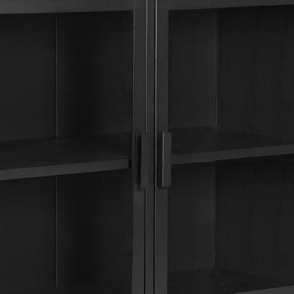 vitrinekast level metaal zwart glas