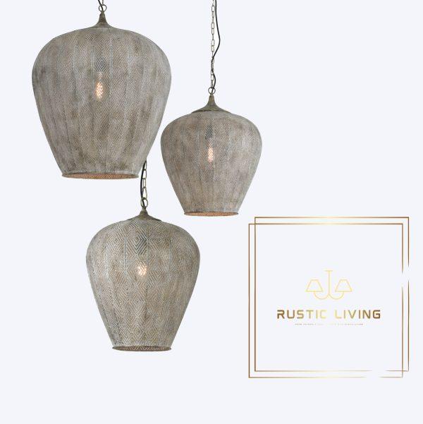 Hanglamp Lavello antiek goud wit metaal