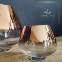 Theelichthouder Paddenstoel Glas Rose Goud Transparant Small