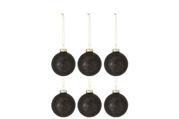 Doos Van 6 Kerstballen Sterretjes Glas Zwart Small