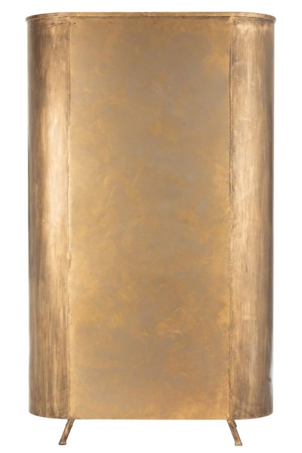 Kast op poten 2 deuren metaal glas antiek goud