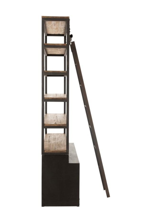 bibliotheekkast 2 deuren met ladder metaal hout industrieel