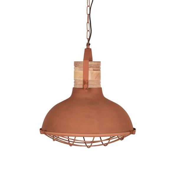 hanglamp Grid mangohout naturel metaal roest 34