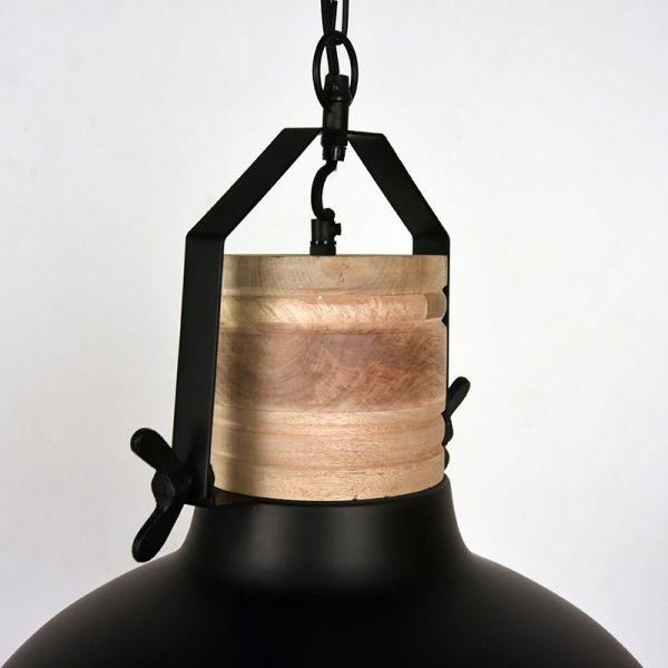 Hanglamp Grid mangohout naturel metaal zwart 52